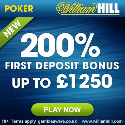 William Hill Poker Promotional Code for £1250 & Rakeback