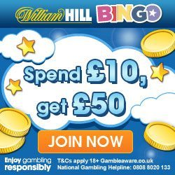 William Hill Bingo Promo Code for £50 Free